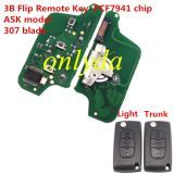 For Peugeot 3B Flip Remote Key PCF7941 46 chip ASK model battery on the PCB 307/407 blade, Trunk/Light button