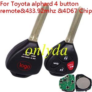 Toyota alphard 4 button remote with 434mhz After 2005 year with 4D67 Chip
