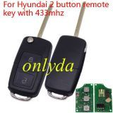 For VW Style flip remote -- hyun 2 button remote key with 433mhz for  Elantra car (without chip,put your existing key chip into the new romote)