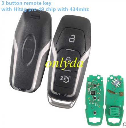 3 button remote key with Hitag pro 49 chip with 434mhz for 2013-2015 Ford keyless