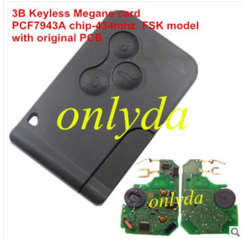 Keyless 3B remote key with PCF7943A chip-434mhz with original PCB and after market key shell FSK model
