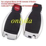 Original For Benz 3+1B remote315mhz 5WK49031 FCCID:KR55WK49031,CAN:267T-5WK49031