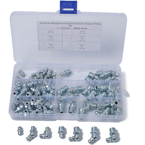80-Piece Hydraulic Grease Zerk Fitting SAE Kit Straight 90 45 Degree -Wholesale Price Amazon,Ebay,Wish Hot Seller