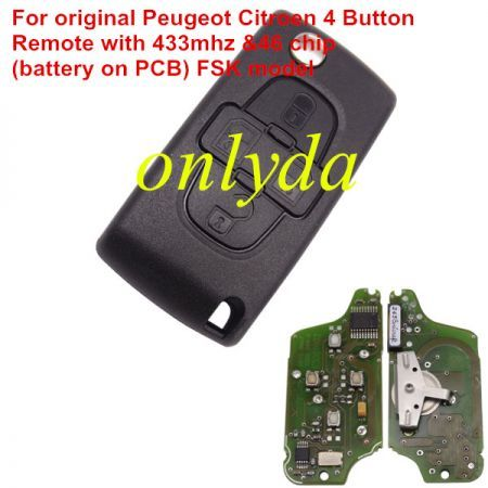 For original Citroen 4 Button Flip Remote Key with 433mhz (battery on PCB) with FSK model with 46 chip with VA2 / HU83 blade