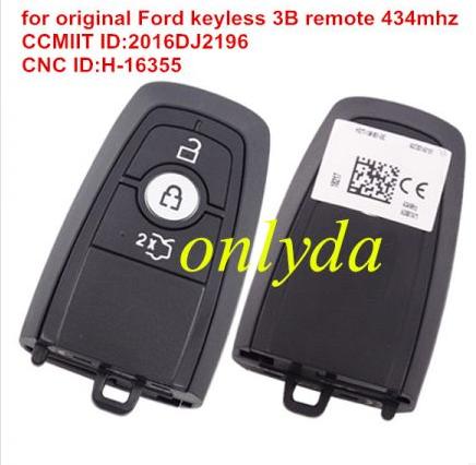 For original Ford keyless 3B remote 434mhz CCMIIT ID:2016DJ2196 CNC ID:H-16355 Type:A2C93142100
