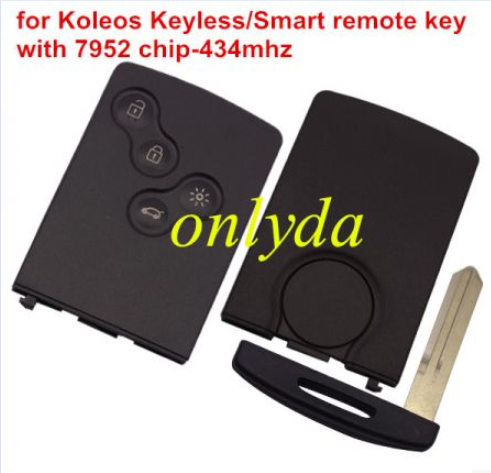 For Renault Koleos keyless Remote 4button key with 7952 Hitag chip