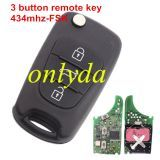 3 button remote key 434mhz FSK with original PCB and after market key shell
