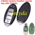 Infinite keyless 4 button remote key with 434mhz with pcf 7952 chip