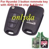 For hyundai 3 button remmote key 433mhz without chip