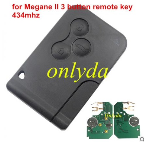 Renault Megane II 3 button remote key with PCF7947 chip with logo
