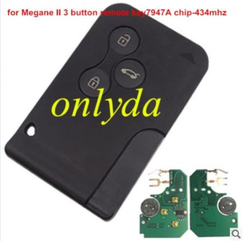 Renault  Megane 3 button 433Mhz &7947A chip  & blade - no logo