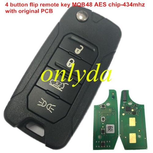 4 button flip remote key 434mhz with MQB 48 AES chip with original PCB and after market keys shell