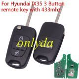 For hyundai IX35 3 Button remote key with 433mhz