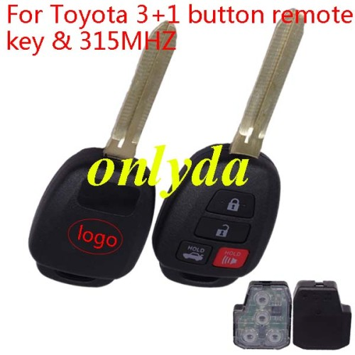 3+1 remote key, FCCID;GQ4-52T, with 434 mhz compatible with FCCID --HYQ12BEL and FCCID--HYQ12BDM