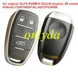 original for ALFA ROMEO GIULIA keyless 3 button remote key 434mhz CONTINENTAL:A2C97634900 CMIIT ID:2016DJ1270