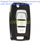 Original Ssangyong 3 button remote key with 4D70 chip with 433.92HMZ CMIIT ID:2013DJ7102 ANATEL:2014-13-7830 MODEL NO:MT FOL 01