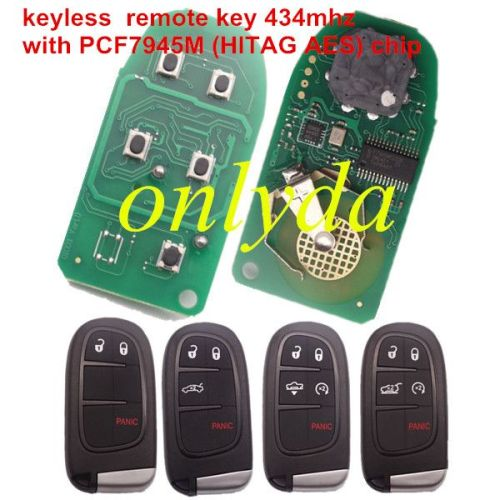 keyless remote key 434mhz with PCF7945M (HITAG AES) chip 2+1/3+1/4+1 button key shell , please choose