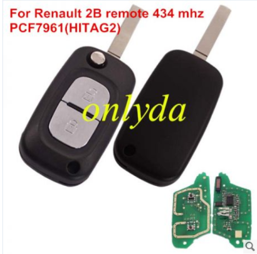 renault 2 button remote key with PCF7961(HITAG2) ID46 Chip 433 mhz Blade: VA2