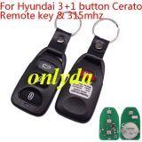 For hyundai 3+1 button Cerato Remote key with 315mhz