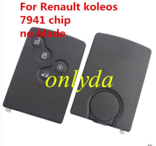 All are original and brand new Renault koleos, 4 button remote key with 7941 chip.  with logo NO BLADE.  7941 megane is non keyless for laguna 2008-2012, Megane 2009-2015, Scenic 2009-2015, Fluence 2012 - 2016 The PCB is original