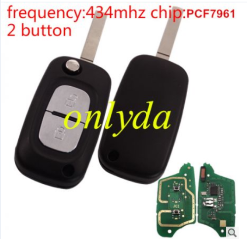 renault Clio 2 button remote key with PCF7961 Chip(without blade) with 433mhz----PCB is original, key shell isn't original