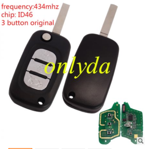 genuine renault 3 button remote key with PCF7961(HITAG2) ID46 Chip 433 mhz Blade: VA2