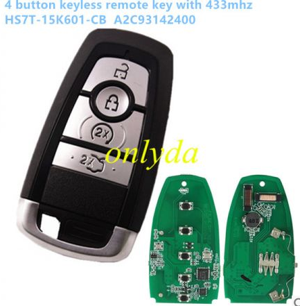 4 button keyless remote key with 433mhz HS7T-15K601-CB A2C93142400 for Ford F-Series 2015-2017