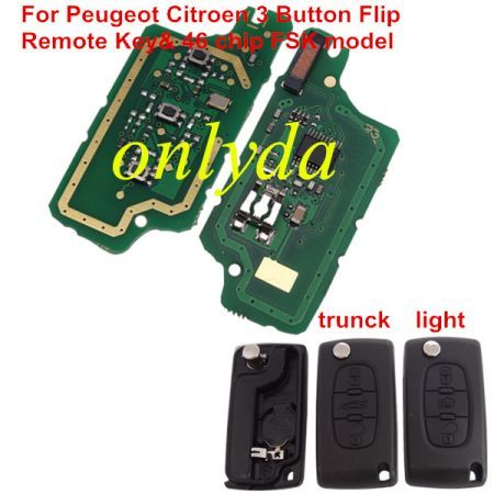 3B Flip Remote Key PCF7961-46 chip FSK model with VA2 / HU83 blade, trunck / light button