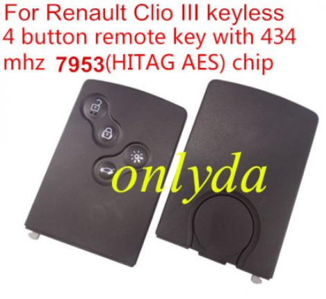 original Clio IV4 button keyless Remote key used for after 2013 year car NO BLADE. PCF7953  hitag AES chip use avdi To program