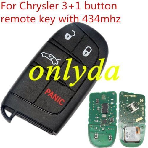 For original Chrysler 3+1 button remote key with 434mhz with HITAG AES