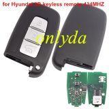 For hyundai 3 Button keyless remote key 434MHZ-No blade