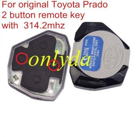 For original toyota Prado 2 button remote key with 315mhz used for land cruiser, suv car