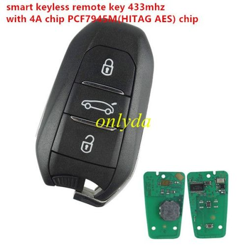 smart KEYLESS remote key with 434mhz 4Achip PCF7945M(HITAG AES) chip