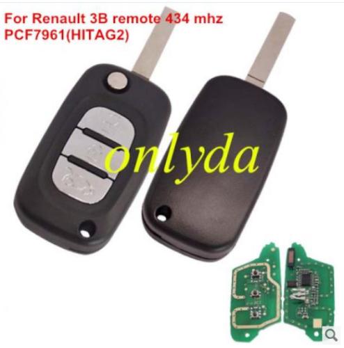 Renault 3 button remote key PCF7961(HITAG2) ID46 Chip 434 mhz Blade: VA2