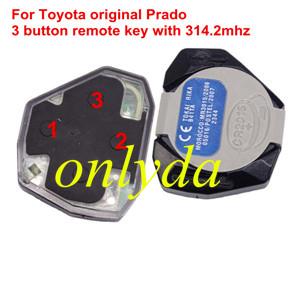 For Toyota original Prado 3 button remote key with 314.2mhz used for land cruiser, suv car