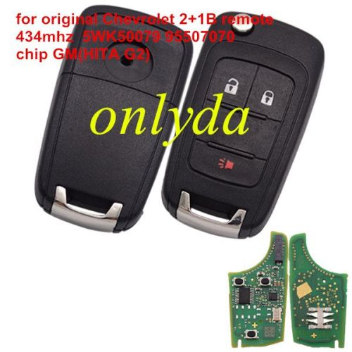original for Chevrolet 2+1 button remote key with 434mhz 5WK50079 95507070 chip GM(HITA G2)