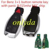 For Benz 3+1 button remote key with panic with 315mhz
