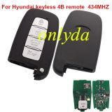 For hyundai 4 button keyless remote key with 433mhz-no blade