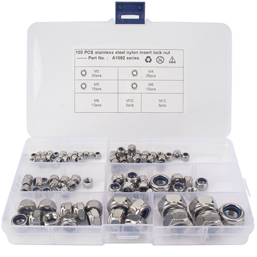 100Pcs Stainless Steel Lock Nuts Nylon Insert-Wholesale Price for Vehicles/Shopify,Amazon,Ebay,Wish Hot Seller