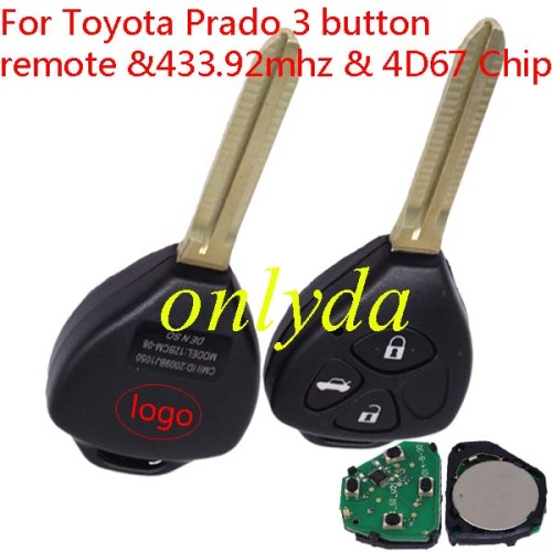 Toyota Prado 3 button remote with 434mhz with 4D67 Chip