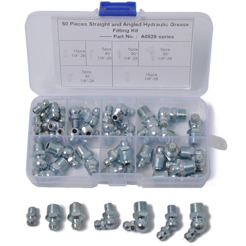 50-Piece Hydraulic Grease Zerk Fitting SAE Kit Straight 90 45 Degree -Wholesale Price Amazon,Ebay,Wish Hot Seller
