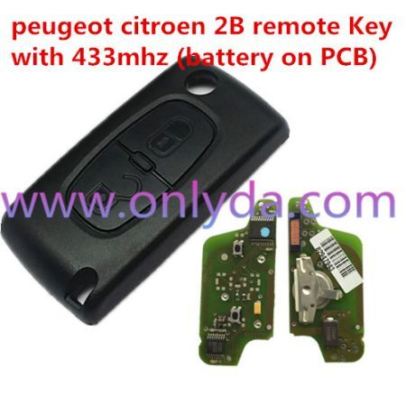 For original Citroen 2 Button Flip Remote Key with 433mhz (battery on PCB) with FSK model with 46 chip with VA2 / HU83 blade