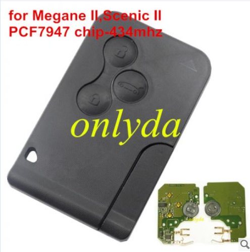 Renault:Megane II,Scenic II,3 button card  pcf7947-433mhz Key profile:Renault Smart  no logo