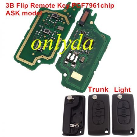 3B Flip Remote PCF7961 46 chip ASK model with 307/407blade, trunck / light button
