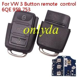 For VW 3 Button remote control 6QE 959 753
