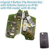 original for Peugeot 3 Button Flip Remote Key with 433mhz (battery on PCB) with FSK model with 46 chip