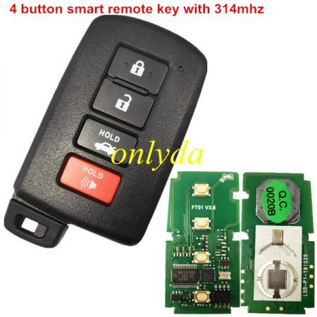 Smat Key Fob For toyota Camry Avalon Corolla   NLK-TOY-87-0020B 312Mhz / 313.8MHZ 0020B# HYQ14FBA  CHIP: P1=88 PN: 89904-06140 Work On: 2013- 2018 Toyota Avalon 2012- 2017 Toyota Camry 2012 - 2017 Toyota Camry Hybrid 2014- 2019 Toyota Corolla