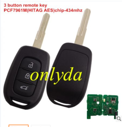 3 button remote key with PCF7961M(HITAG AES)chip-434mhz FSK
