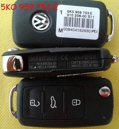 For VW 3 button remote key with 434mhz Model Number is 5KO-959-753-E/5KO-837-202E