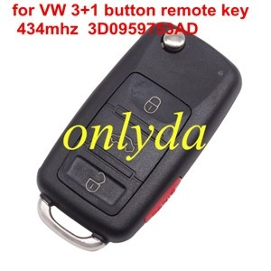 For VW 3+1 button remote key 434mhz 3D0959753AD